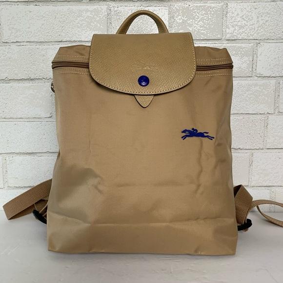 Longchamp Le Pliage Club Nylon Backpack Beige NWT